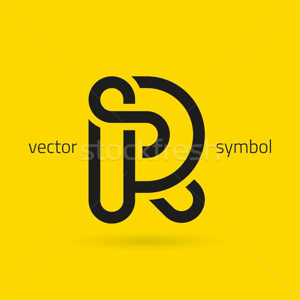 Vetor gráfico criador linha alfabeto símbolo Foto stock © feabornset