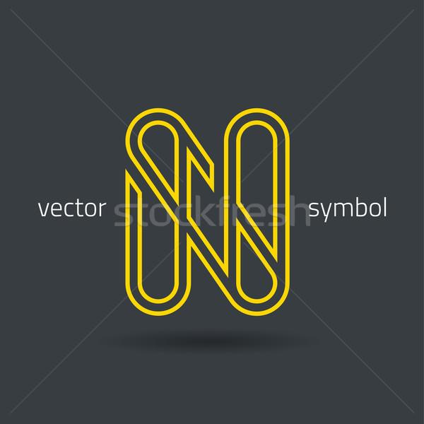 Vector graphic creative line alphabet symbol N Stock photo © feabornset
