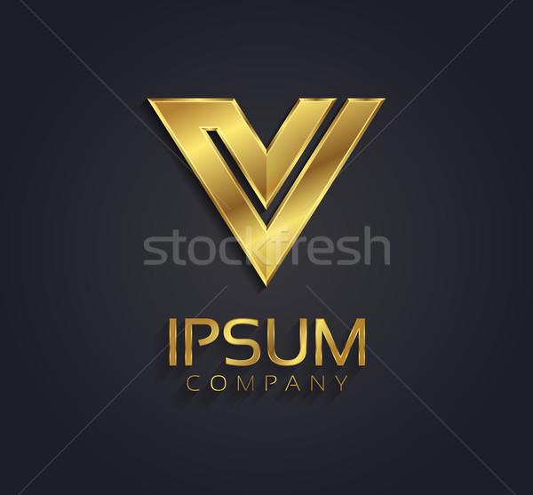 Beautiful Vector Graphic Gold Alphabet Letter V Symbol Vector