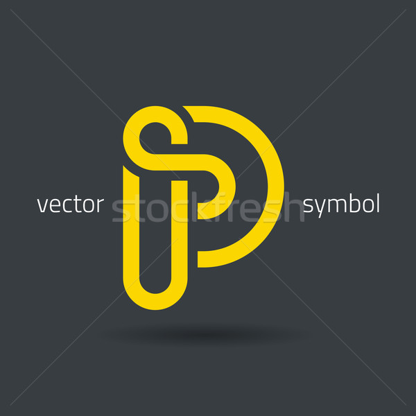 Vector graphic creative line alphabet symbol / Letter P Stock photo © feabornset