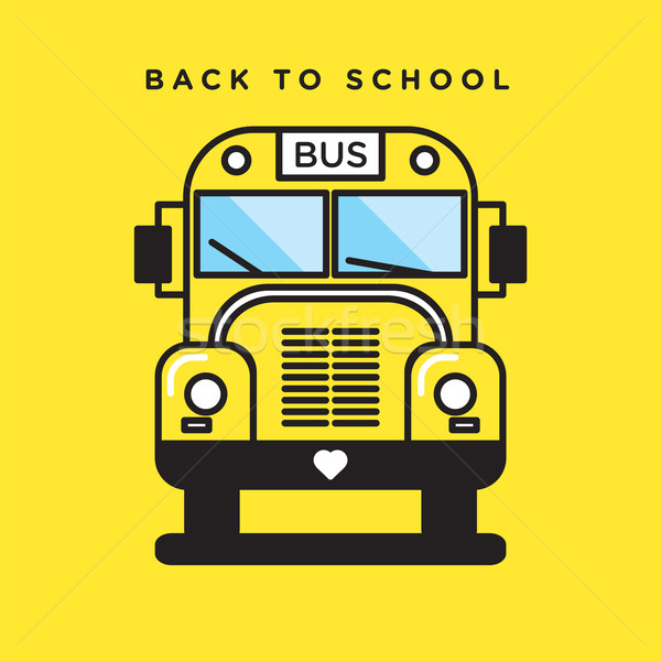 Funny vector graphic illustration of a yellow school bus icon Stock photo © feabornset