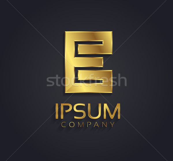 Beautiful vector graphic gold alphabet / letter E / symbol Stock photo © feabornset