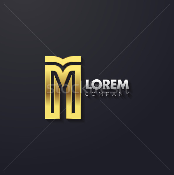 Vector graphic elegant golden creative line alphabet / Letter M Stock photo © feabornset