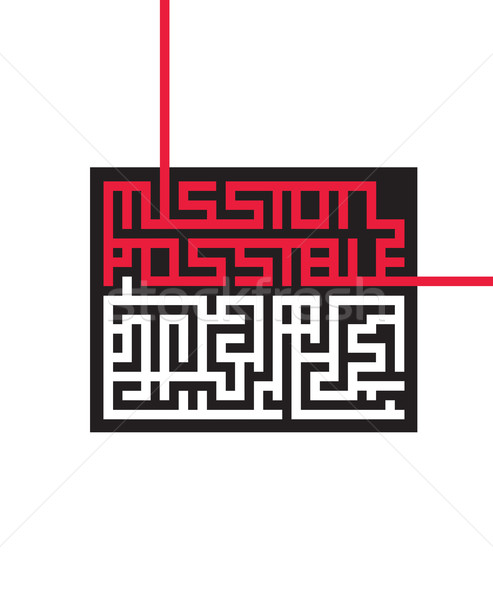 Vector graphic maze with hidden message Mission Possible Stock photo © feabornset