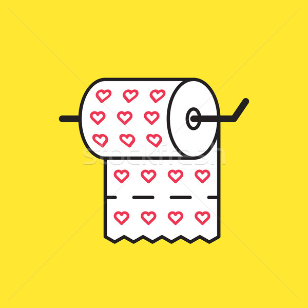 Funny vector graphic illustration of a roll of toilet paper prin Stock photo © feabornset
