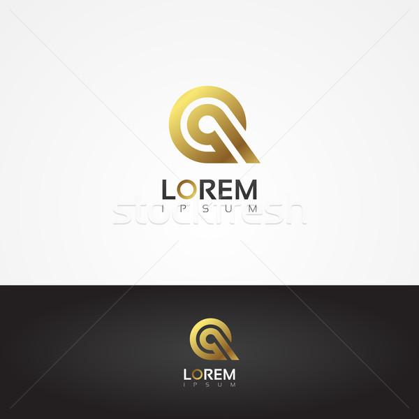 Elegant vector graphic gold alphabet symbol / letter Q Stock photo © feabornset