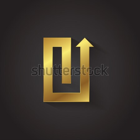 Vector graphic gold arrow alphabet letter symbol / Letter U Stock photo © feabornset