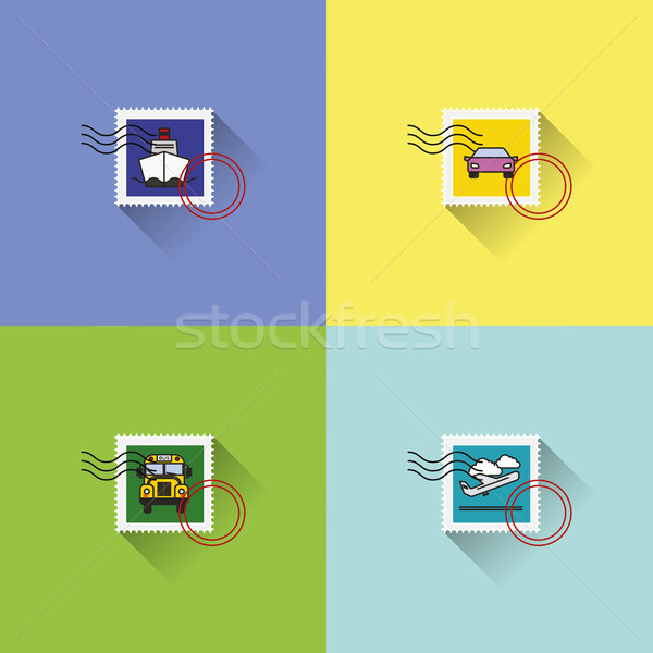 Vector graphic post stamps with vehicles illustration Stock photo © feabornset
