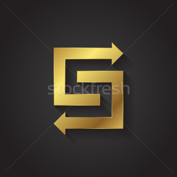 Vector graphic gold arrow alphabet letter symbol / Letter S Stock photo © feabornset