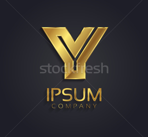 Beautiful vector graphic gold alphabet / letter Y / symbol Stock photo © feabornset