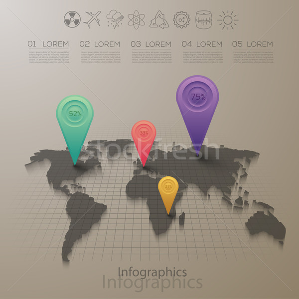 Vector graphic abstract info-graphics with a map and icons in vi Stock photo © feabornset