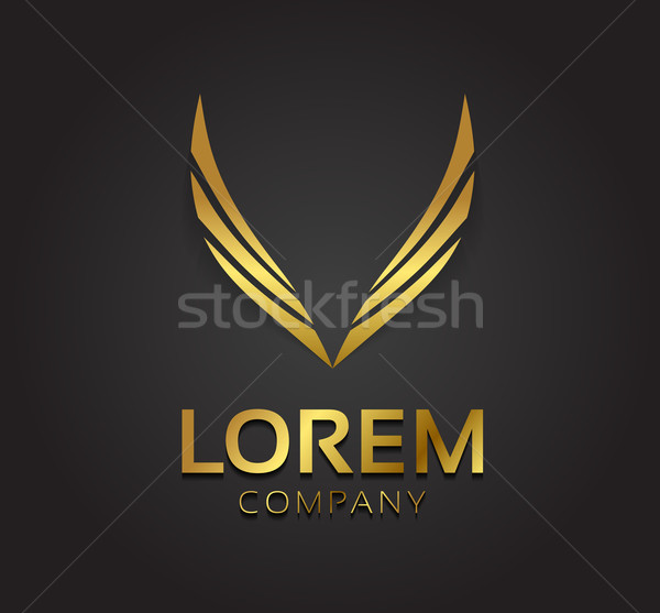 Vector graphic golden wings symbol with sample text for your com Stock photo © feabornset