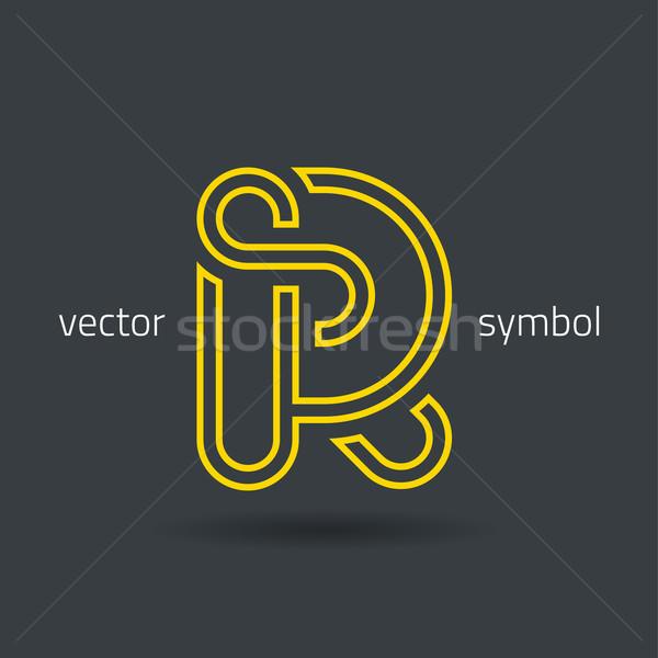 Vector graphic creative line alphabet symbol R Stock photo © feabornset