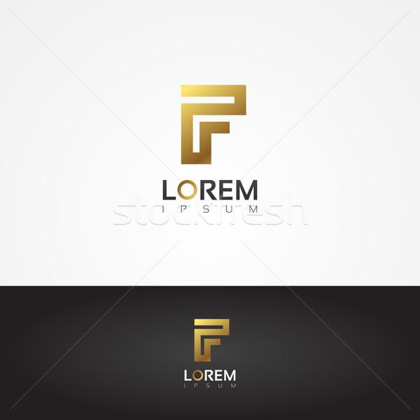 Elegant vector graphic gold alphabet symbol / letter F Stock photo © feabornset