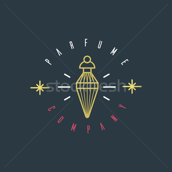 Vector graphic illustration of a perfume bottle symbol with samp Stock photo © feabornset
