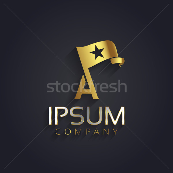 Stock photo: Vector graphic symbol for your company with a flag, a star shape