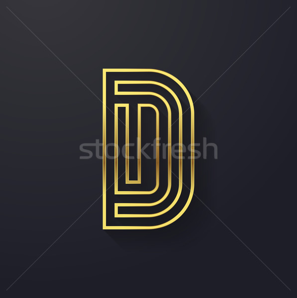 Vector graphic creative line gold alphabet / letter D Stock photo © feabornset
