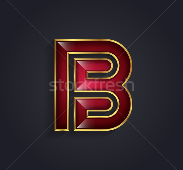 Beautiful vector graphic ruby alphabet with gold rim / letter B  Stock photo © feabornset