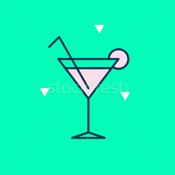 Happy vector graphic minimal icon of a cocktail in vibrant color Stock photo © feabornset