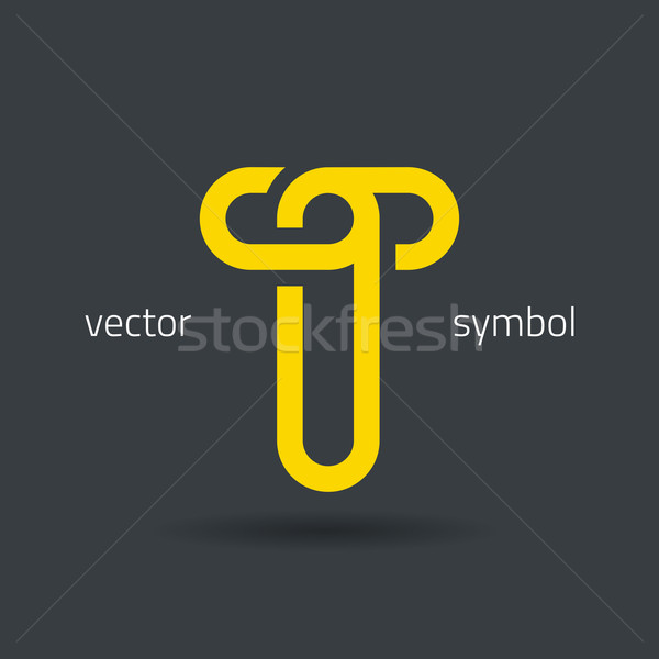 Vector graphic creative line alphabet symbol / Letter T Stock photo © feabornset