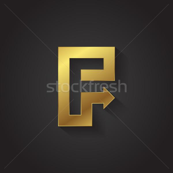 Vetor gráfico ouro seta alfabeto carta Foto stock © feabornset