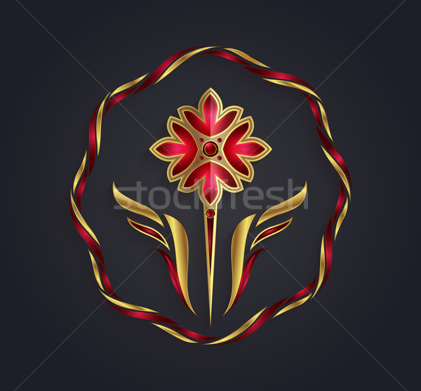 Decorative vector graphic golden and ruby flower shaped symbol Stock photo © feabornset