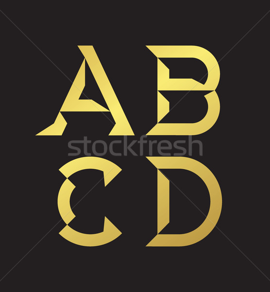 Vector graphic alphabet in a set in black and golden and minimal Stock photo © feabornset