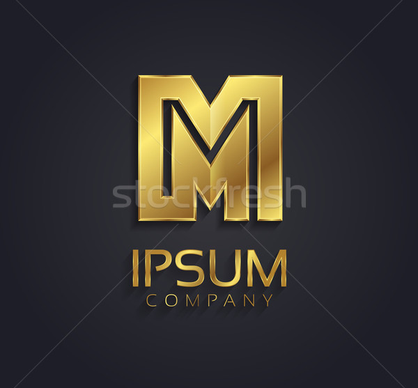 Beautiful vector graphic gold alphabet / letter M / symbol Stock photo © feabornset