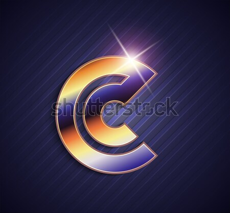 Beautiful vector graphic ruby alphabet with gold rim / letter C  Stock photo © feabornset