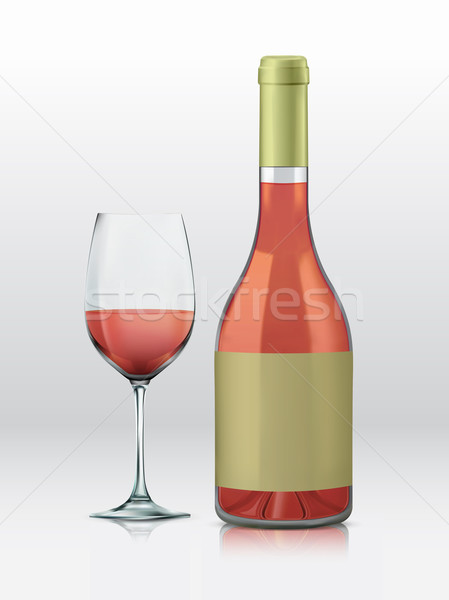 Realistic vector graphic bottle and glass with rose wine Stock photo © feabornset