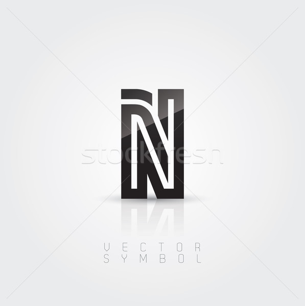 Stock photo: Vector graphic elegant and creative line alphabet / Letter N