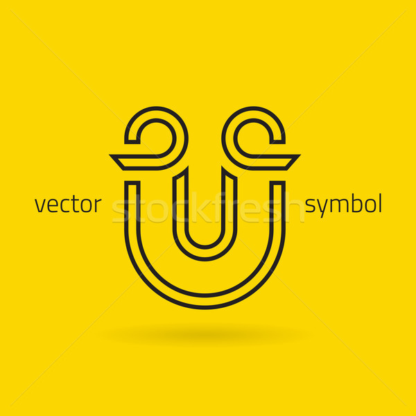 Vector graphic creative line alphabet symbol / Letter U Stock photo © feabornset