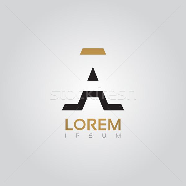 Vector graphic elegant silhouette alphabet symbol in two colors  Stock photo © feabornset