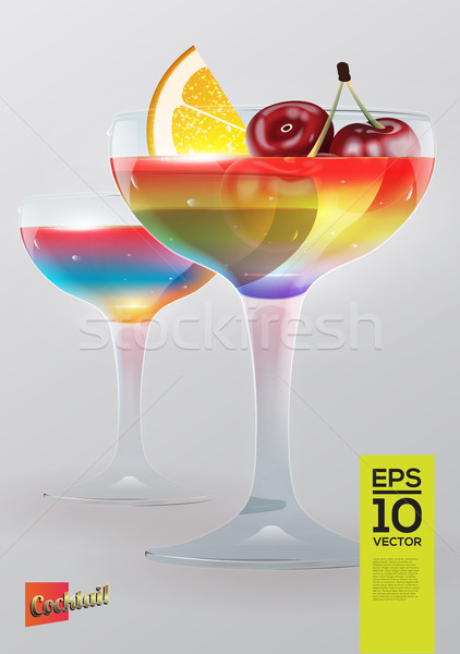 Beautiful vector graphic illustration of two colorful cocktail g Stock photo © feabornset
