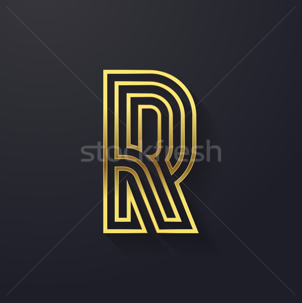 Vector graphic creative line gold alphabet / letter R Stock photo © feabornset