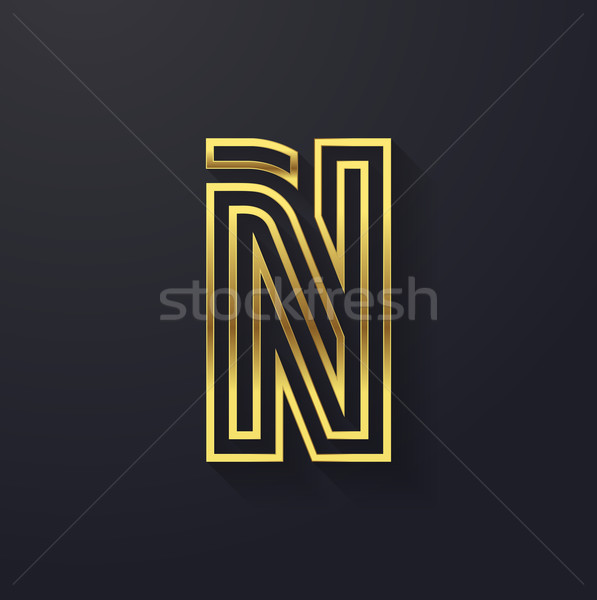 Stock photo: Vector graphic creative line gold alphabet / letter N