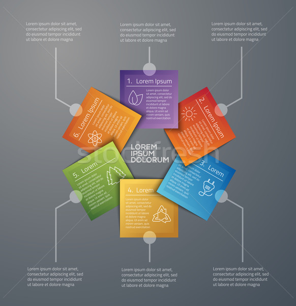 Vector graphic abstract info-graphics with icons in vibrant colo Stock photo © feabornset