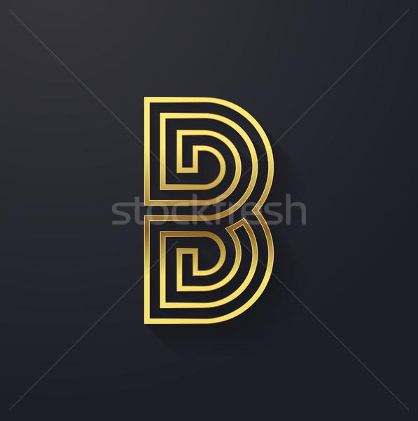 Vetor gráfico criador linha ouro alfabeto Foto stock © feabornset