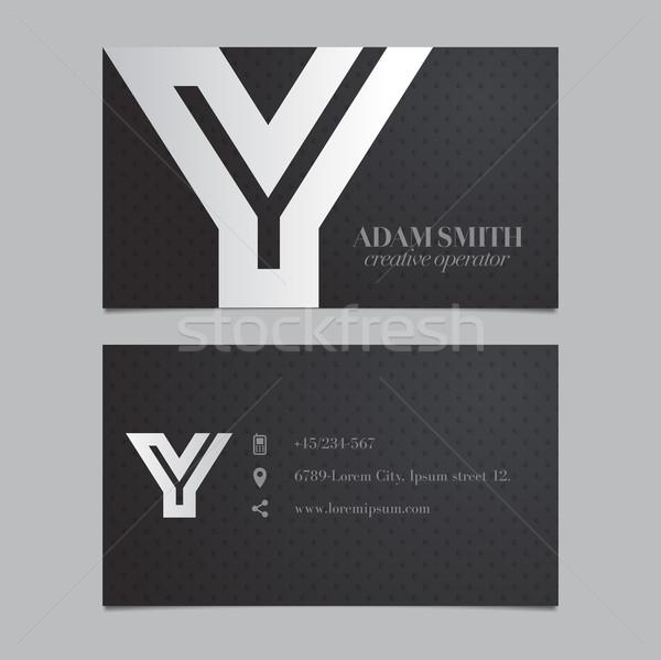 Elegant vector graphic business card with alphabet symbol / lett Stock photo © feabornset