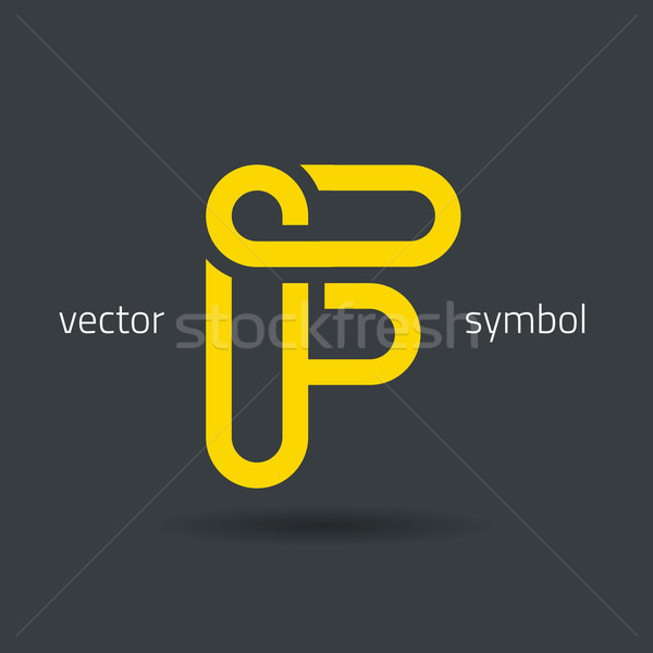 Vector graphic creative line alphabet symbol / Letter F Stock photo © feabornset