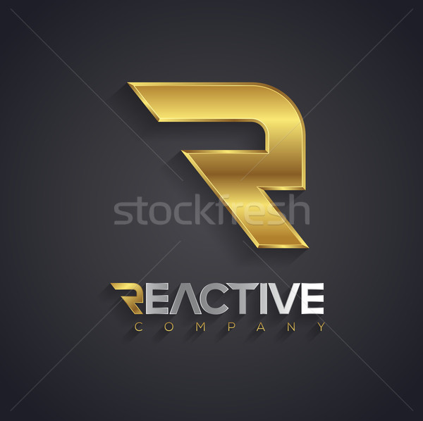Vector graphic golden and silver R letter symbol for your compan Stock photo © feabornset