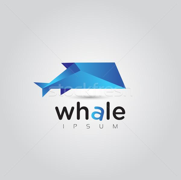 Vektor grafikus mértani bálna szimbólum minta Stock fotó © feabornset