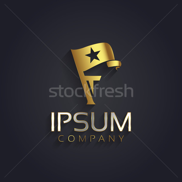 Vector graphic symbol for your company with a flag, a star shape Stock photo © feabornset