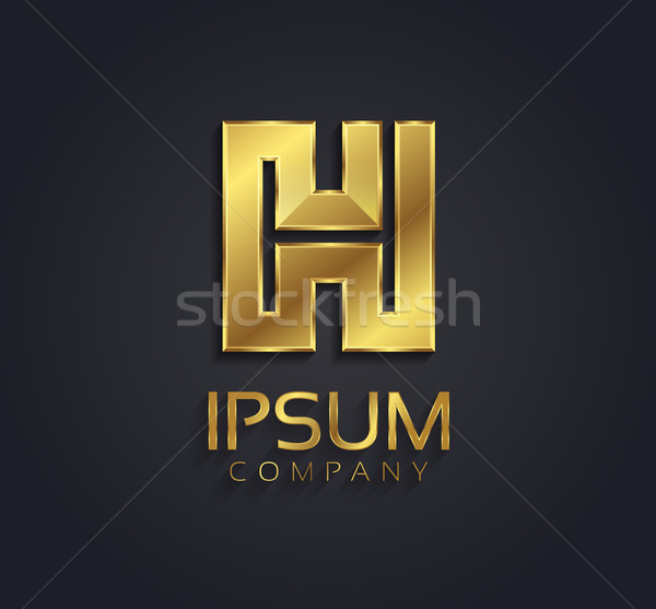 Beautiful Vector Graphic Gold Alphabet Letter H Symbol Vector