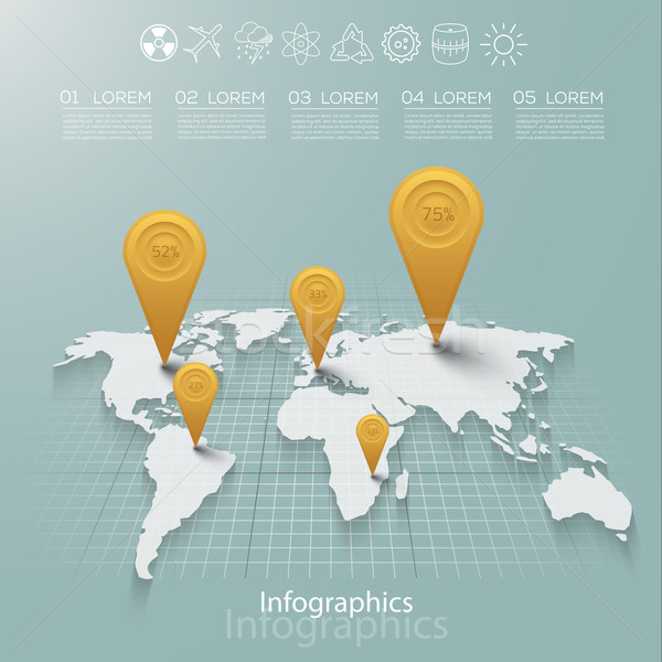 Stockfoto: Vector · grafische · abstract · infographics · kaart · iconen