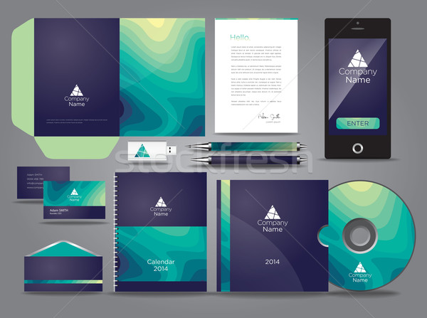 Liquid themed vector graphic business identity with mobile cds a Stock photo © feabornset