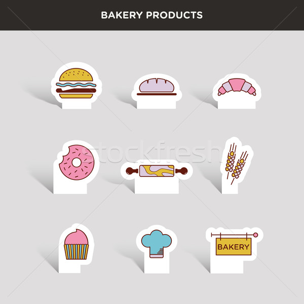 Vector graphic colored icon set of bakery products Stock photo © feabornset