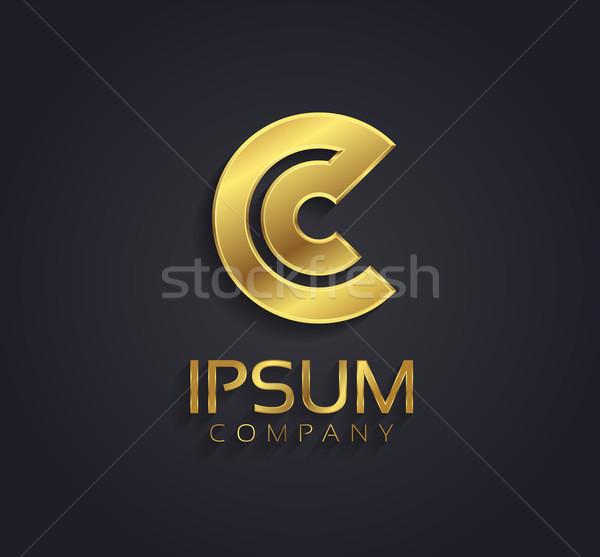 Belo vetor gráfico ouro alfabeto letra c Foto stock © feabornset