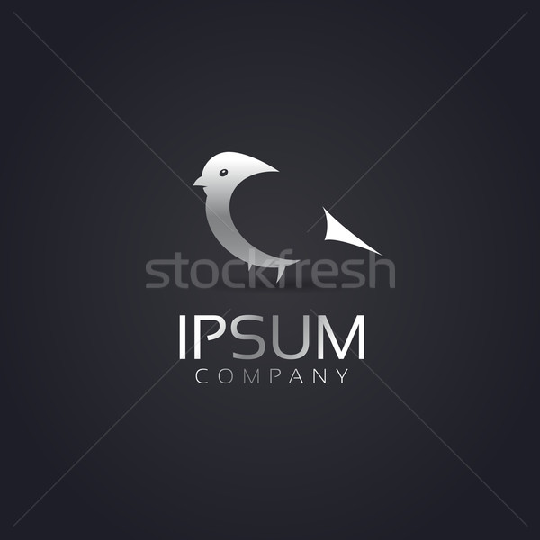Vector graphic elegant and cute silver bird symbol for your comp Stock photo © feabornset