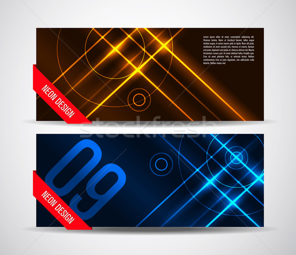 вектора графических аннотация неоновых Баннеры желтый Сток-фото © feabornset